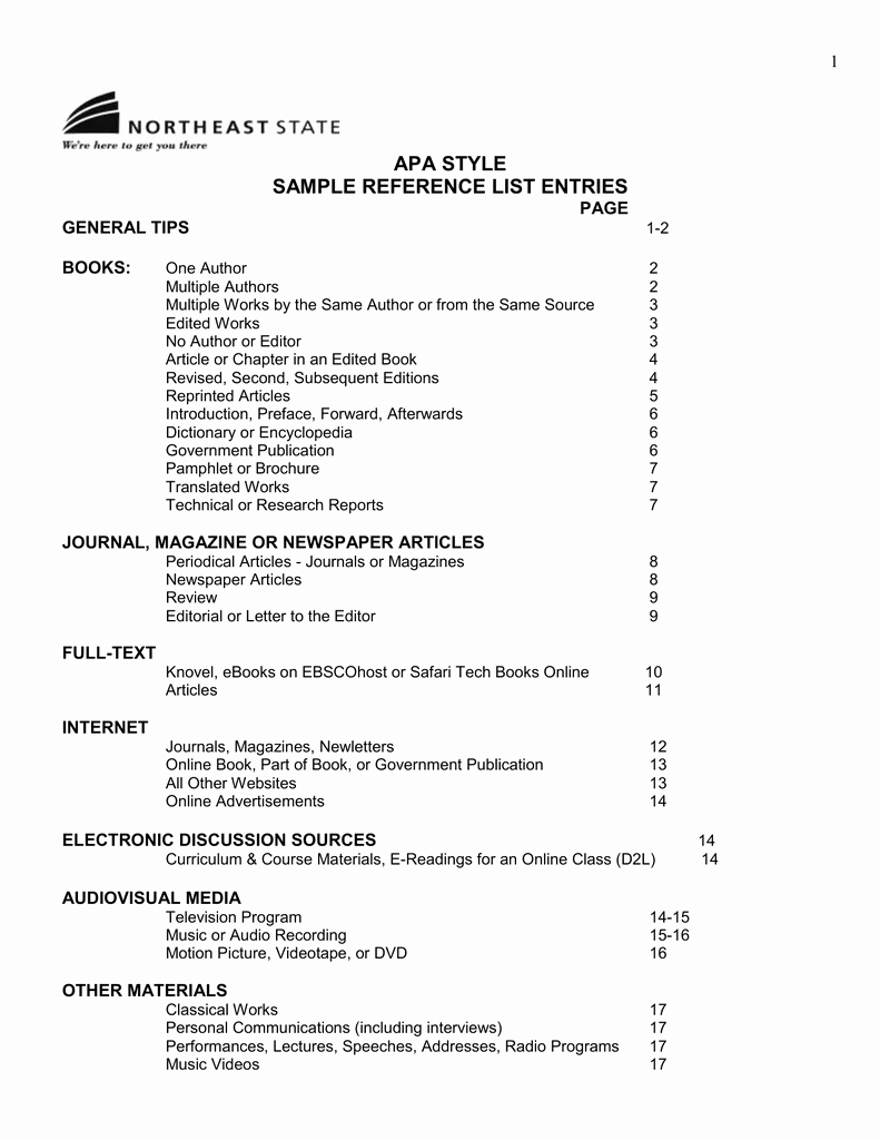 Sample Of List Of References Unique Apa Style Sample Reference List Entries