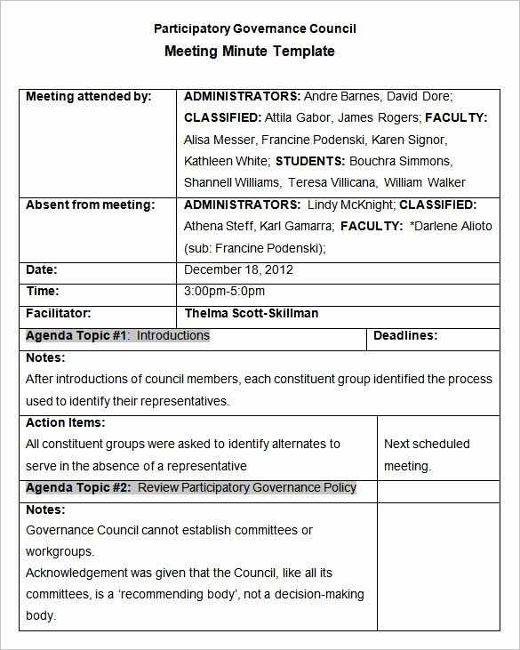 Sample Of Meeting Minutes format Best Of Meeting Minutes Template 25 Free Samples Examples