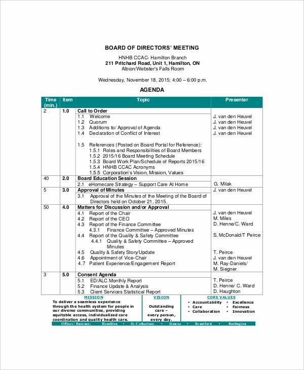 Sample Of Meeting Minutes format Elegant 12 Board Of Directors Meeting Agenda Templates – Free