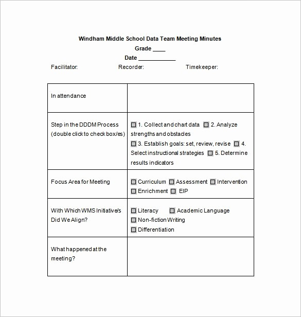 Sample Of Meeting Minutes format Inspirational 18 School Meeting Minutes Templates Pdf Doc