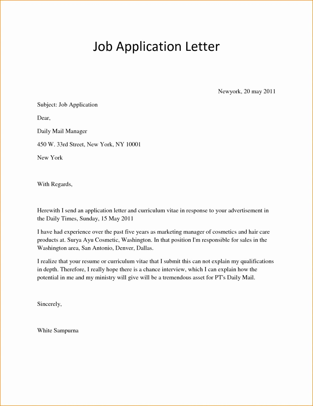 Sample Of Simple Cover Letter Awesome Example Reverse Chronological Resume format Pdf Tag