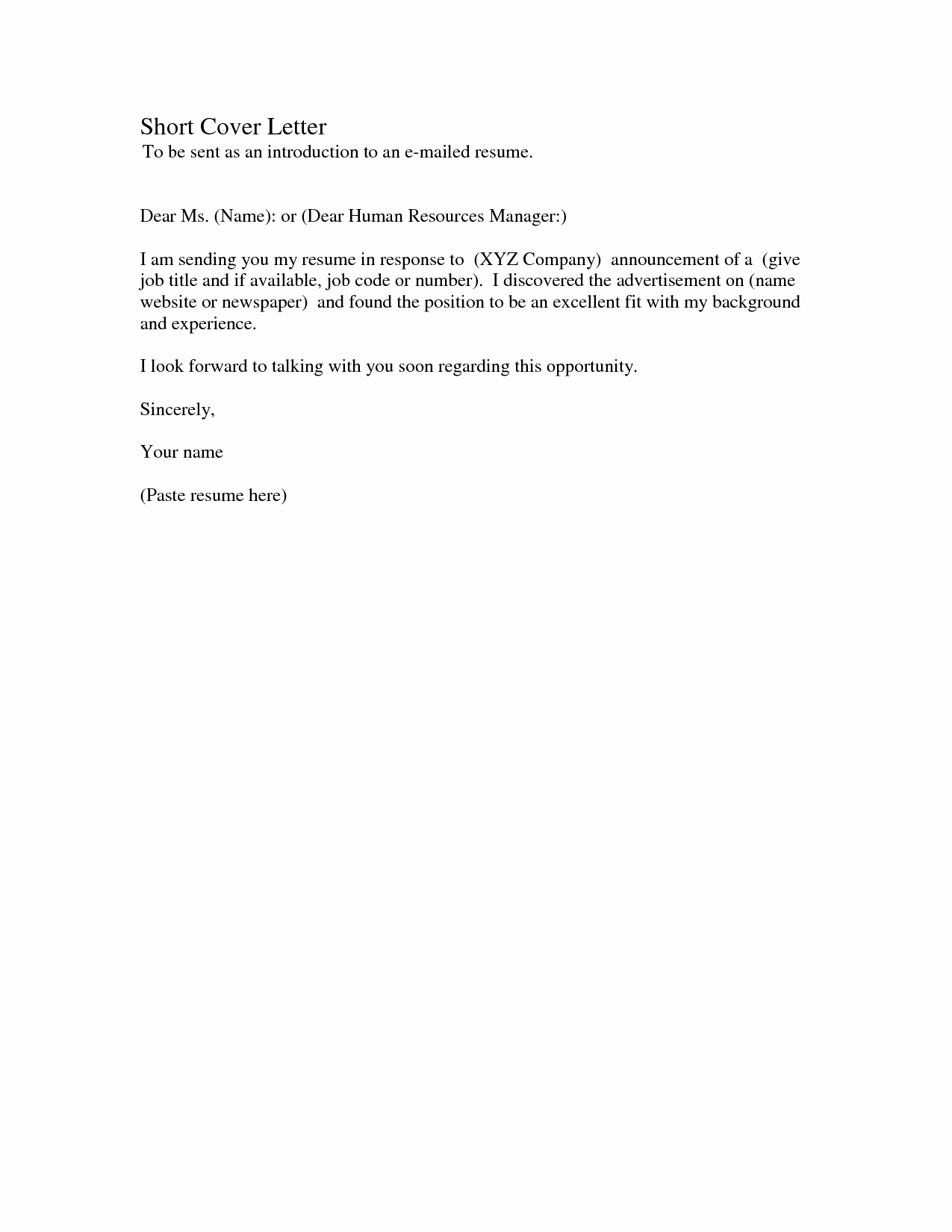 Sample Of Simple Cover Letter Awesome Short Cover Letter