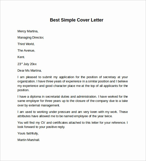 Sample Of Simple Cover Letter Best Of 8 Sample Cover Letter Templates to Download