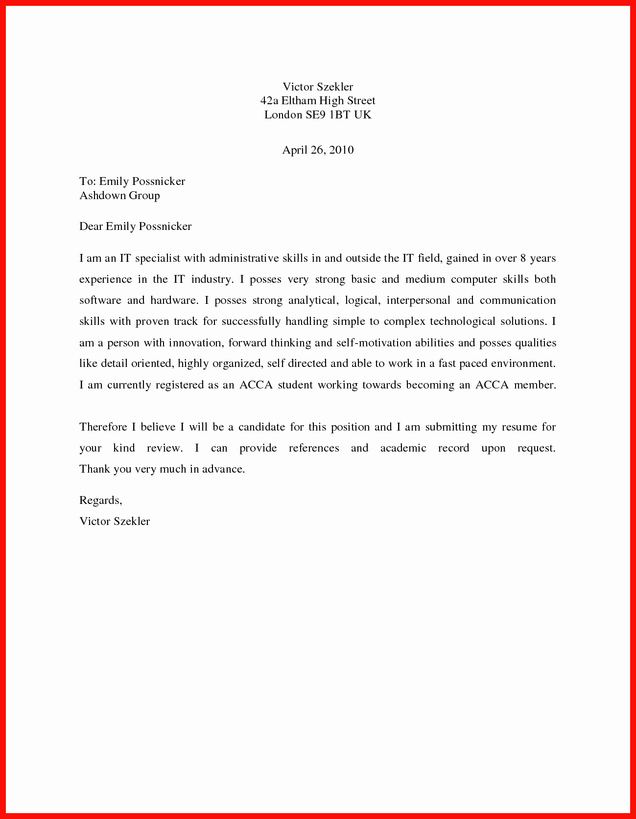 Sample Of Simple Cover Letter Elegant Basic Cover Letter Sample