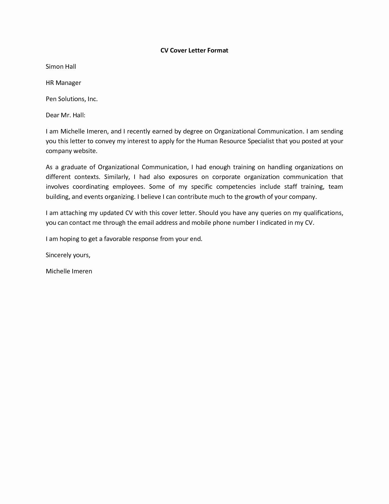 Sample Of Simple Cover Letter Fresh Basic Cover Letter for A Resume