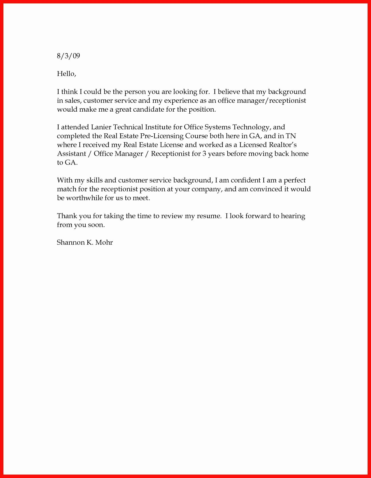 Sample Of Simple Cover Letter Unique Basic Cover Letter Sample