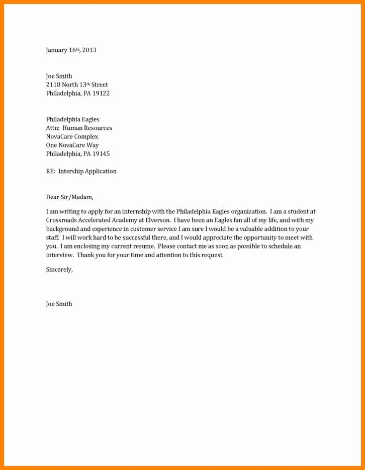 Sample Of Simple Cover Letter Unique Short Cover Letter