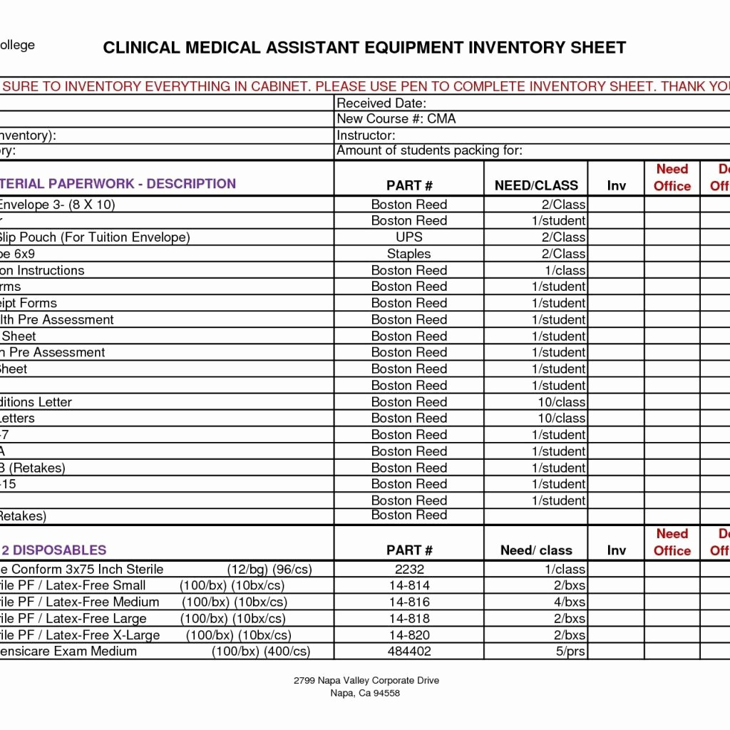 Sample Office Supply Inventory List Best Of 96 Supplies Inventory Sheet Medical Supply Inventory