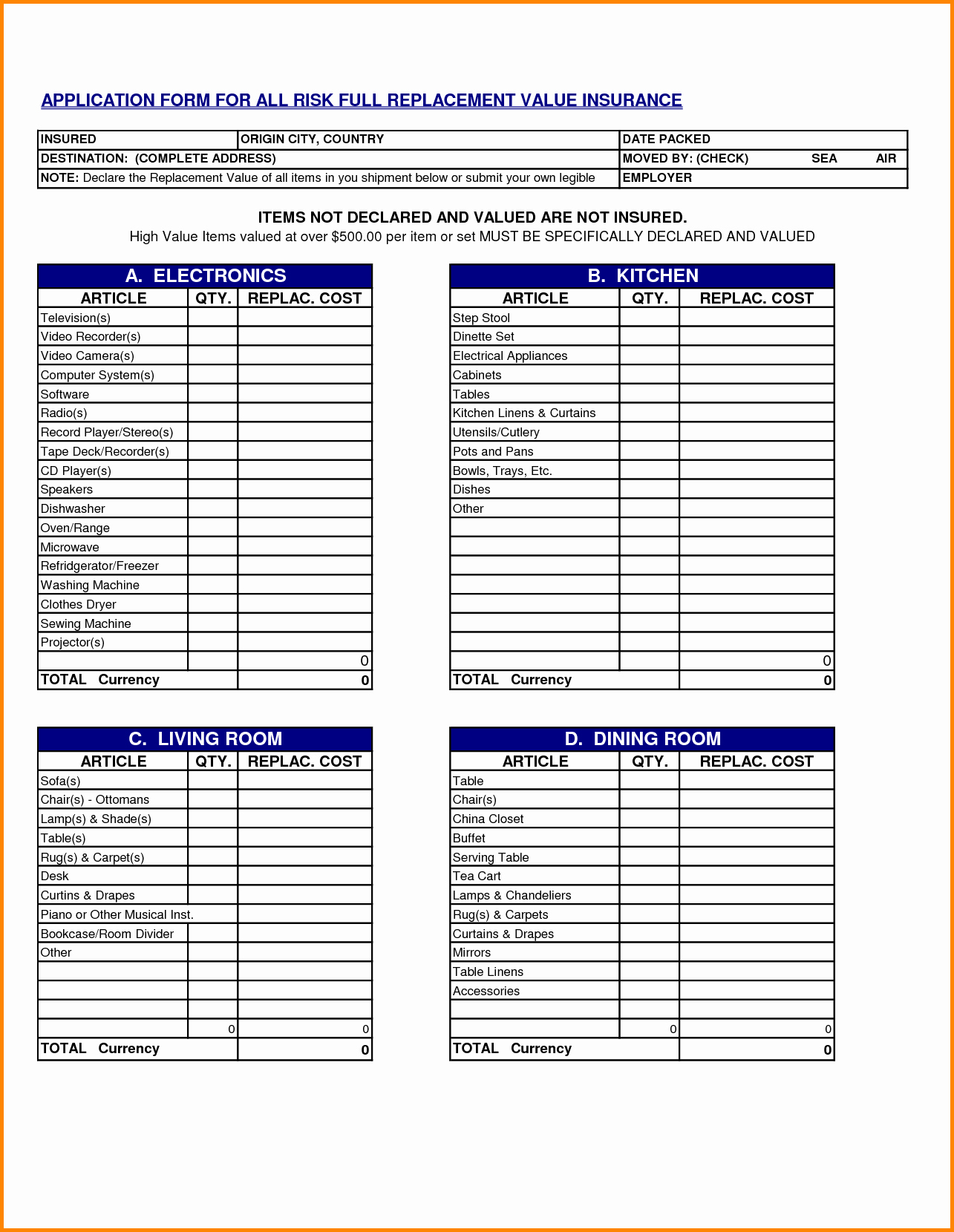 Sample Office Supply Inventory List New Moving Inventory List Template