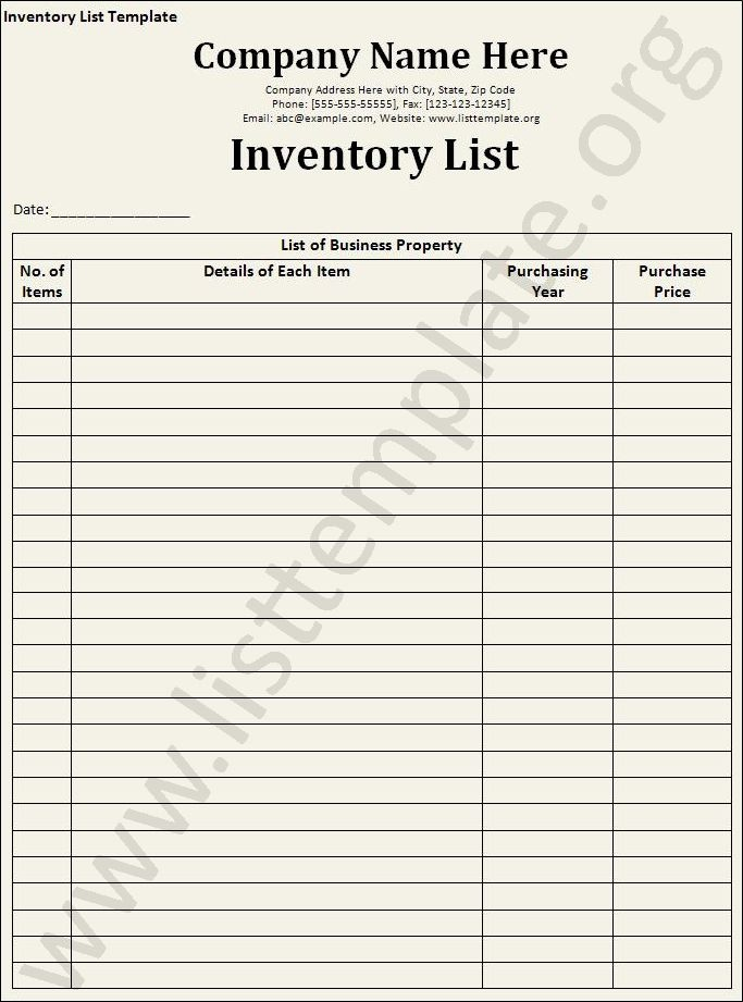 Sample Office Supply Inventory List Unique Inventory List Template Craft Ideas Pinterest