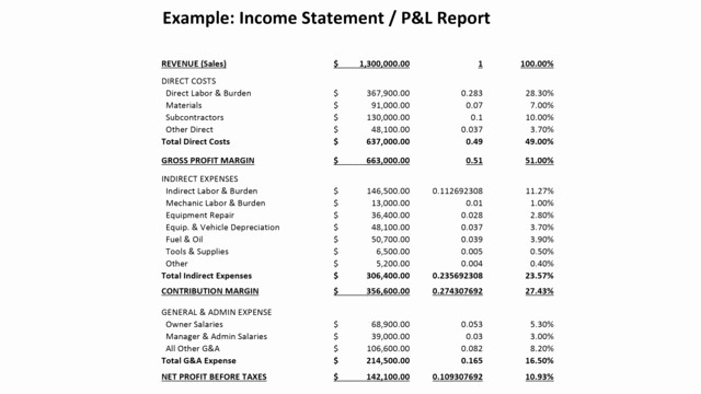 Sample P&l Report Lovely Financial Reports and Ratios for Landscaping Panies