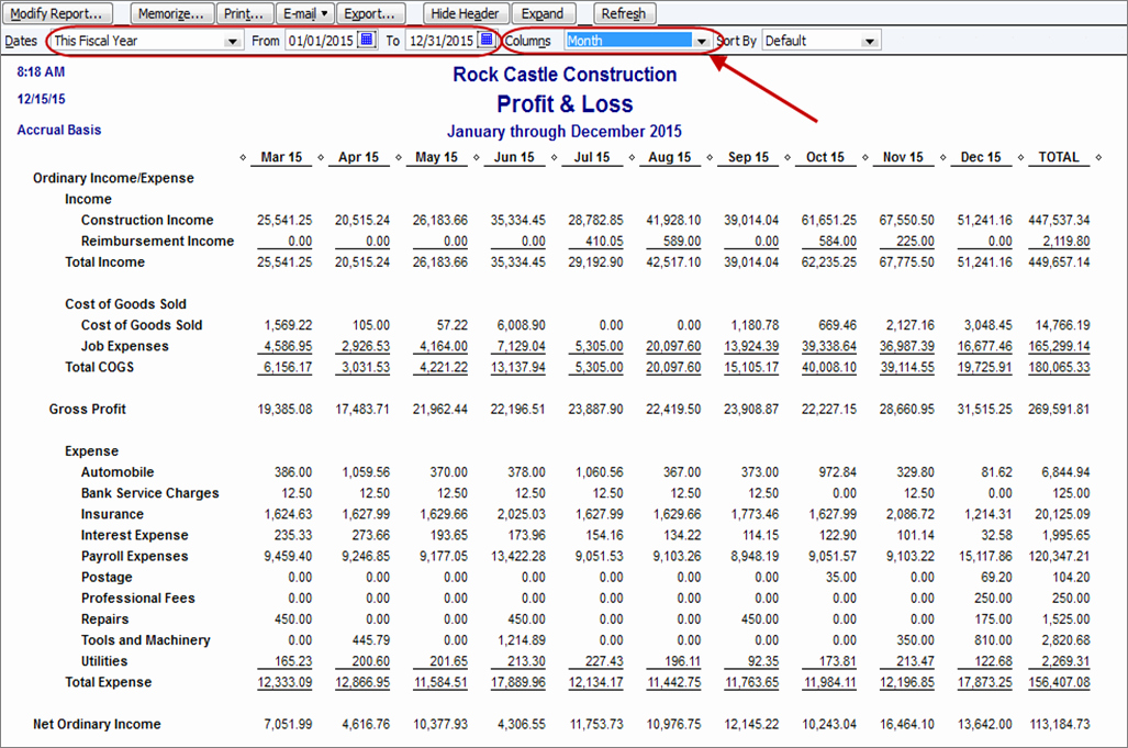 Sample P&l Report Lovely How to Create A Monthly Profit & Loss Report In Quickbooks