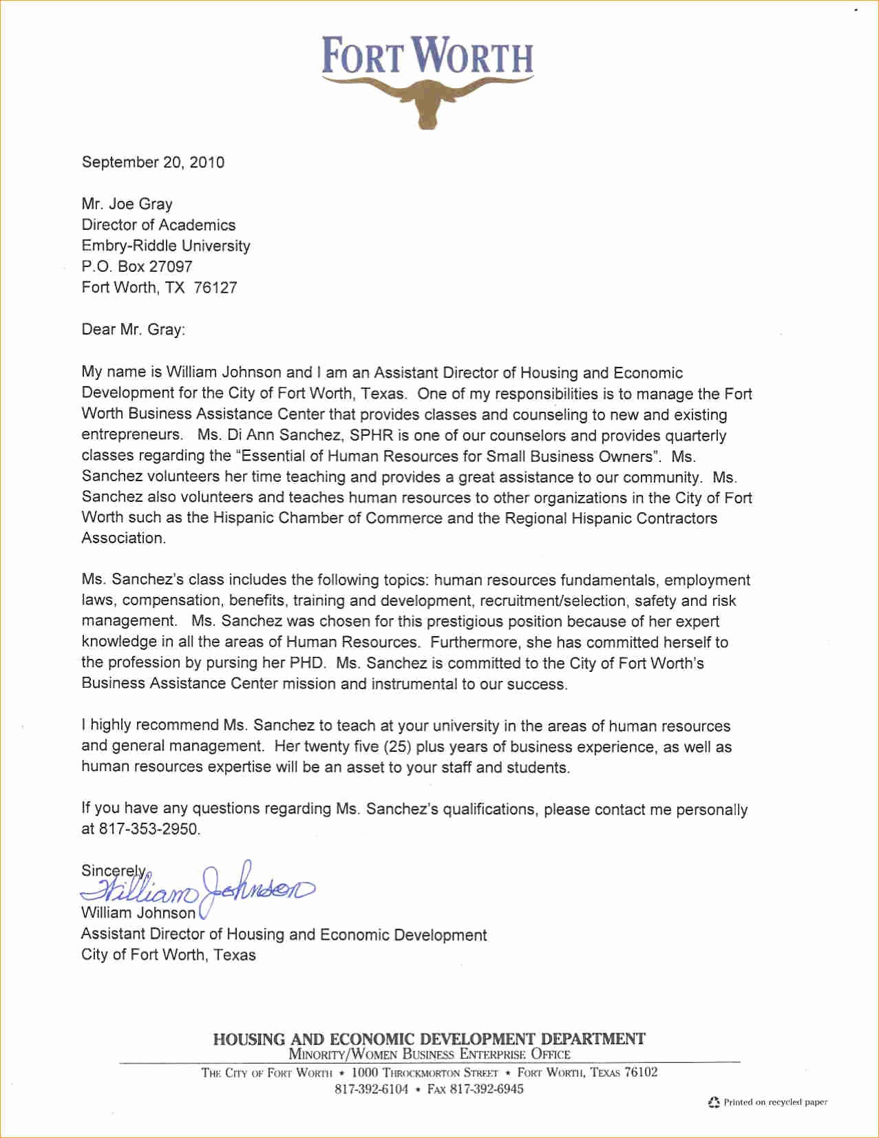 Sample Professional Letter Of Recommendation Awesome A Professional Letter Of Re Mendation Business