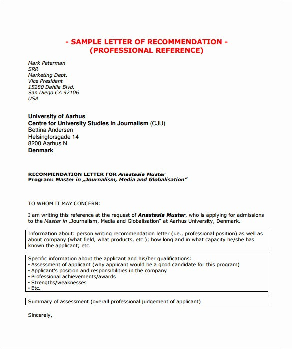 Sample Professional Letter Of Recommendation Beautiful 9 Professional Letter Of Re Mendation to Download for