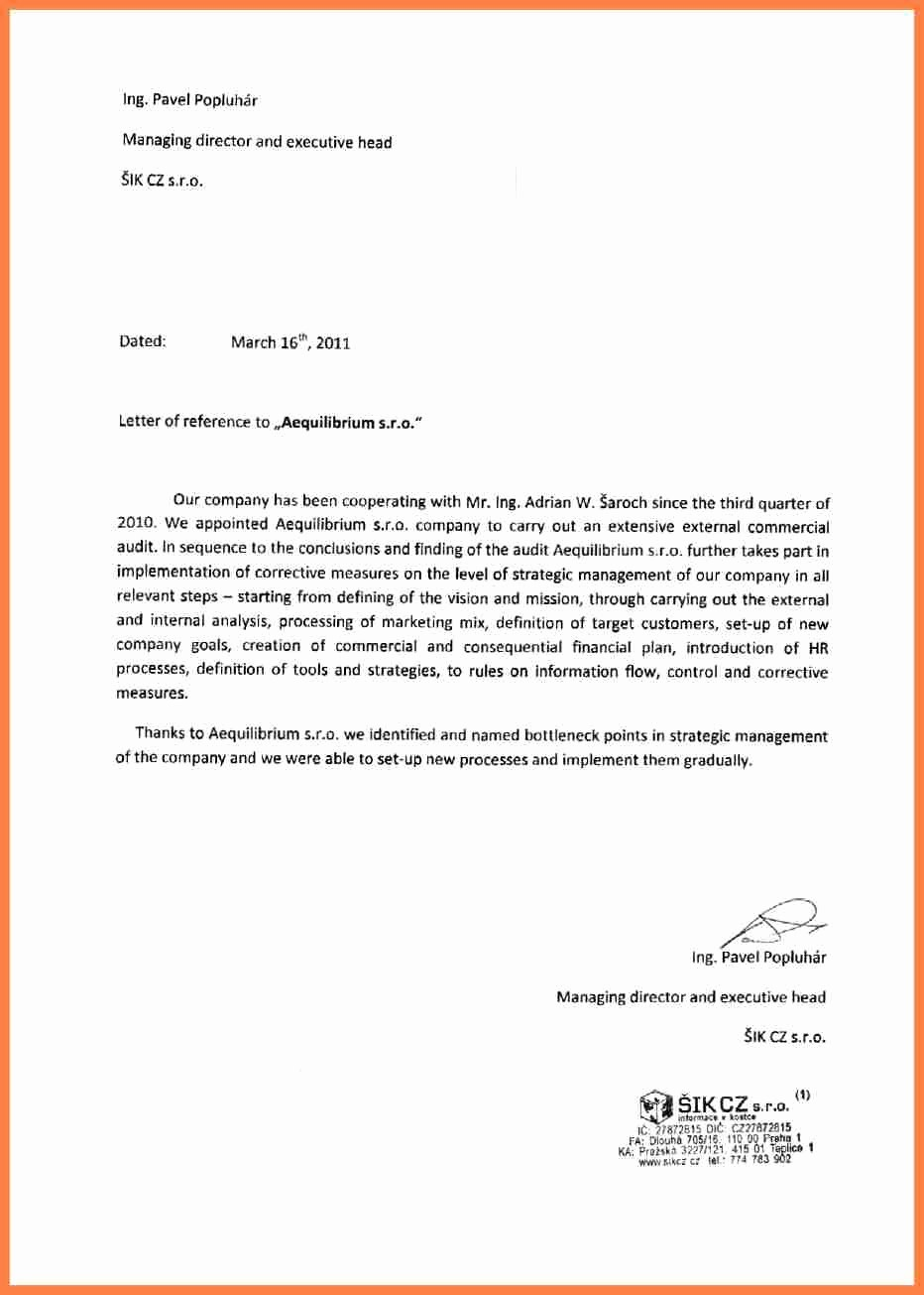 Sample Professional Letter Of Recommendation Fresh 11 Letter Of Re Mendation Pany
