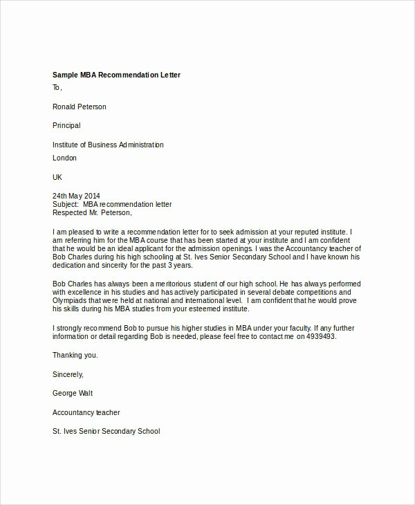 Sample Professional Letter Of Recommendation Inspirational 36 Re Mendation Letter format Samples