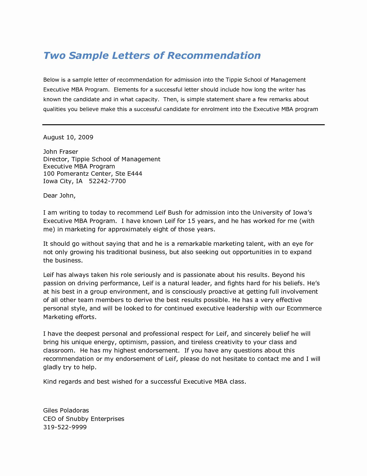 Sample Professional Letter Of Recommendation Inspirational Harvard Business School Letter Re Mendation Sample