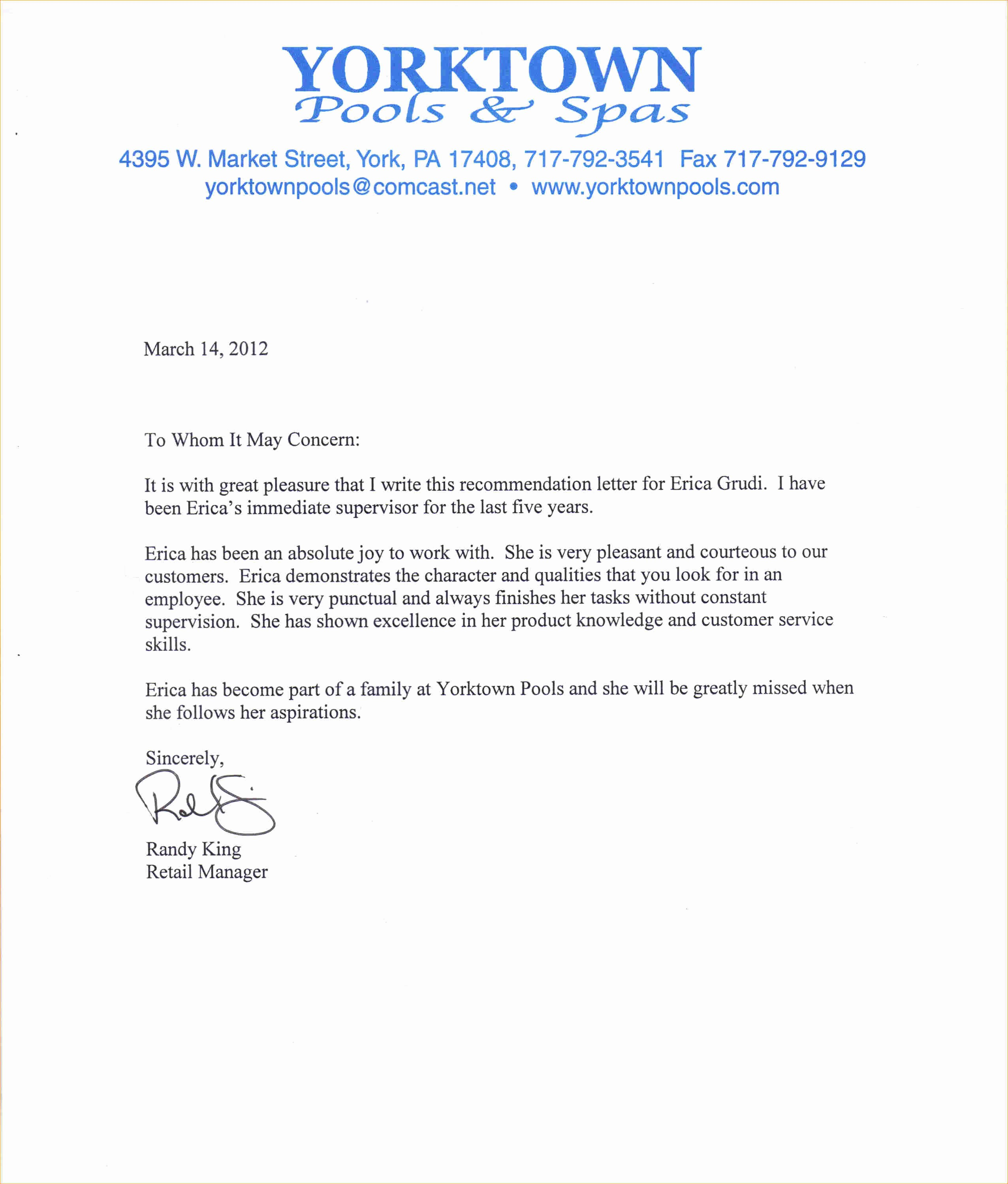 Sample Professional Letter Of Recommendation New A Professional Letter Of Re Mendation Business