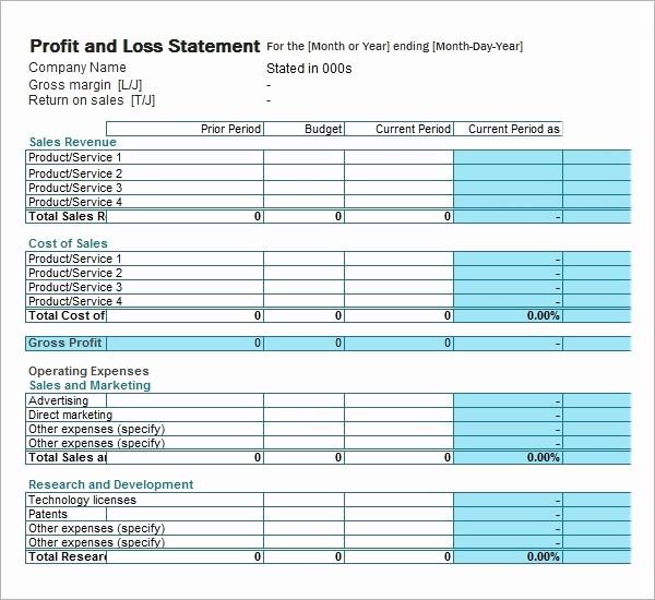 Sample Profit & Loss Statement Awesome Profit and Loss Statement Template Beepmunk