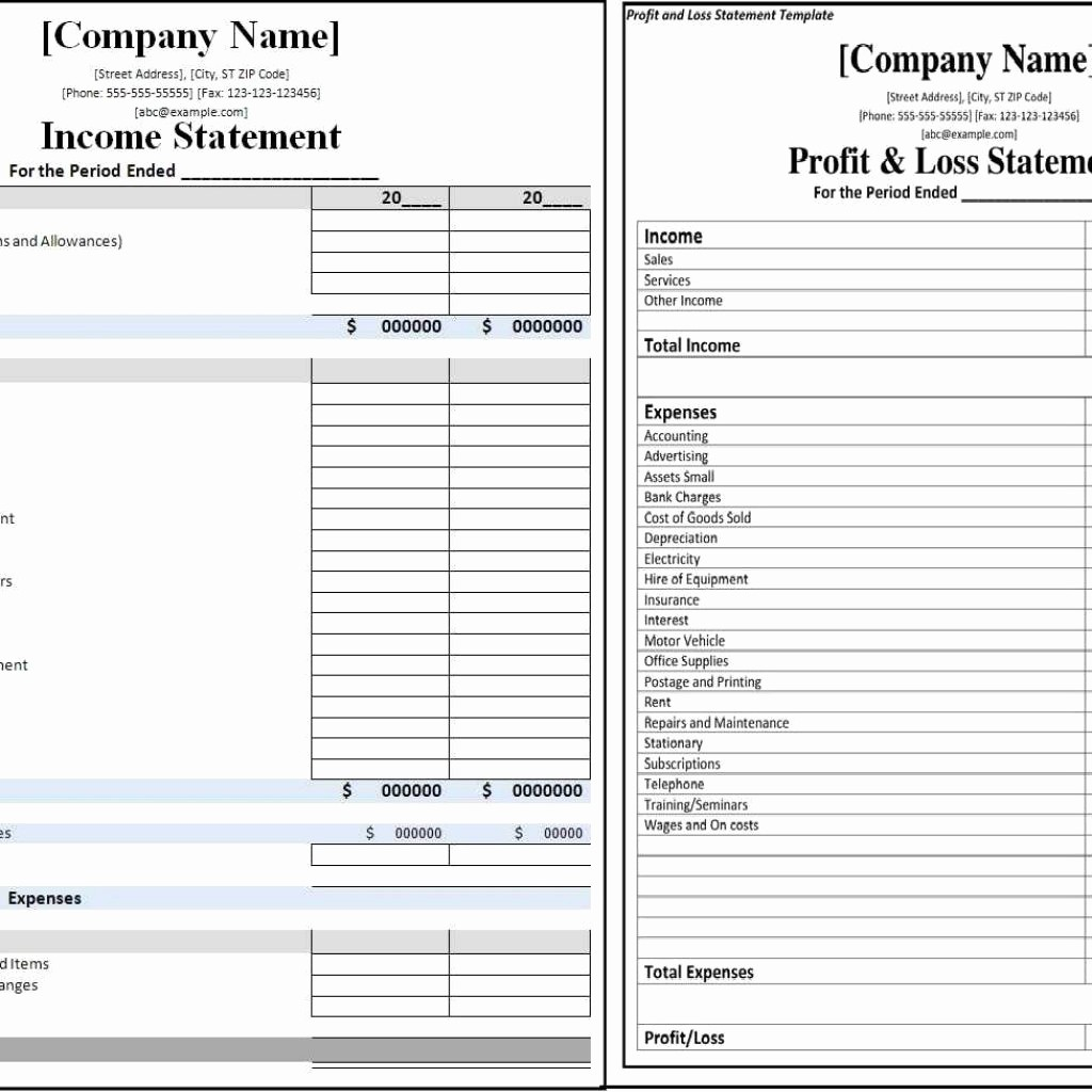 Sample Profit & Loss Statement Inspirational Printable Profit and Loss Statement format Excel Word
