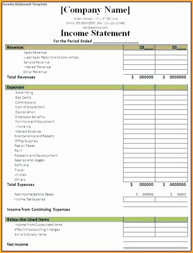 Sample Profit Loss Statement Excel Best Of Profit and Loss Statement Excel Template In E Statement