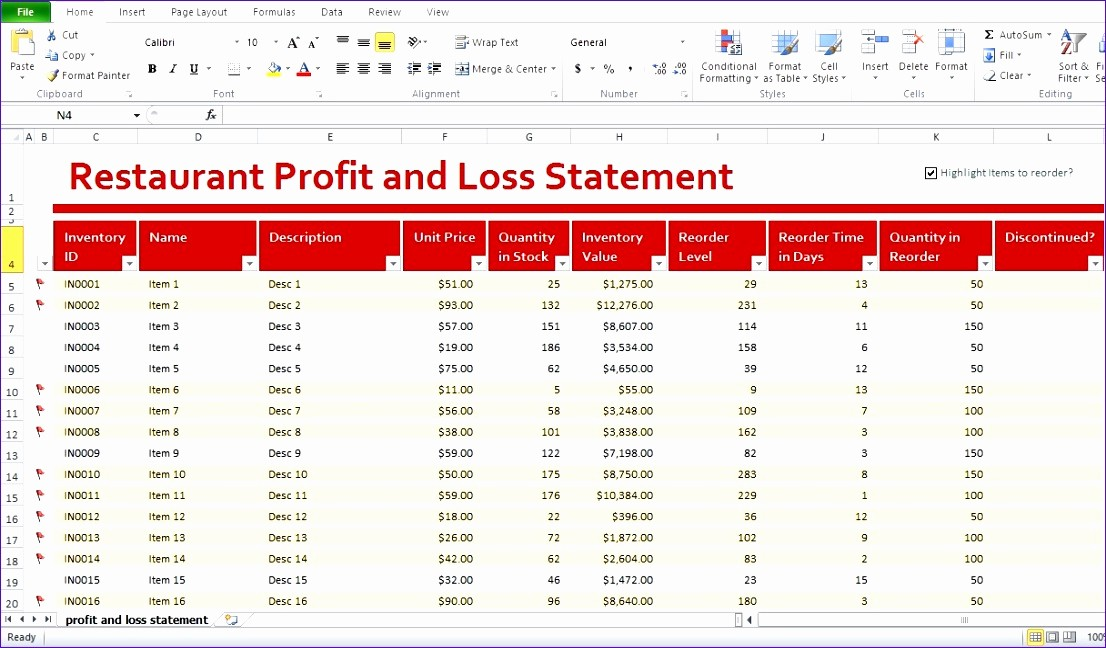 Sample Profit Loss Statement Excel Lovely 5 Restaurant Monthly Profit and Loss Statement Template