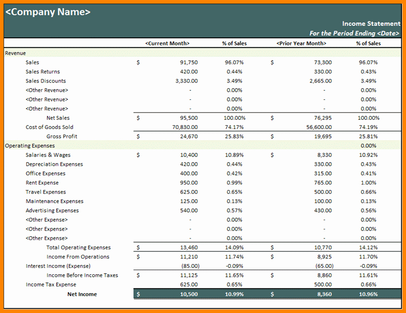 Sample Profit Loss Statement Excel Luxury 9 Excel Financial Statement Template