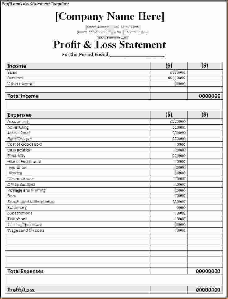 Sample Profit Loss Statement Template Elegant 5 Profit and Loss Templates