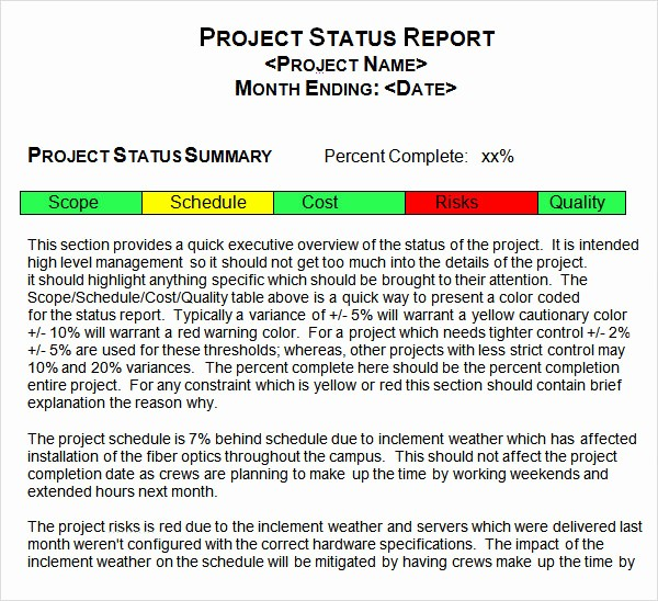 Sample Project Status Report Template Beautiful 14 Sample Useful Project Status Report Templates