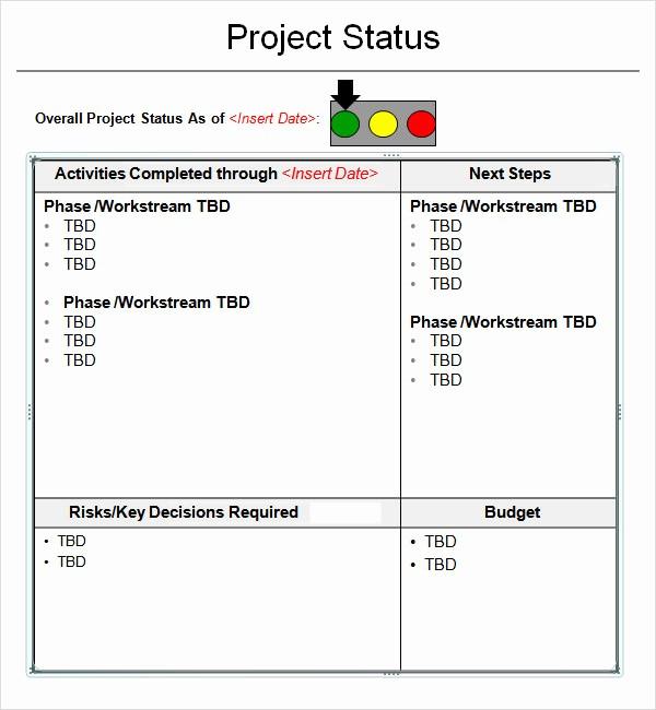 Sample Project Status Report Template Fresh 14 Sample Useful Project Status Report Templates