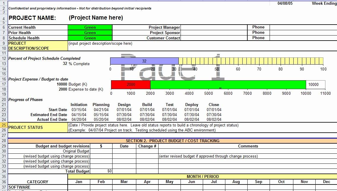 Sample Project Status Report Template Fresh Project Status Report Template In Excel