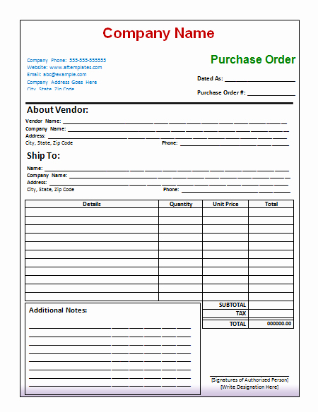 Sample Purchase order In Excel Best Of 10 Purchase order Template