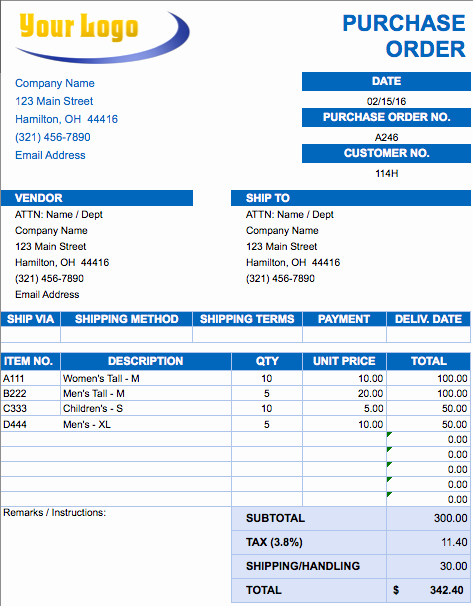 Sample Purchase order In Excel Fresh Purchase order Template