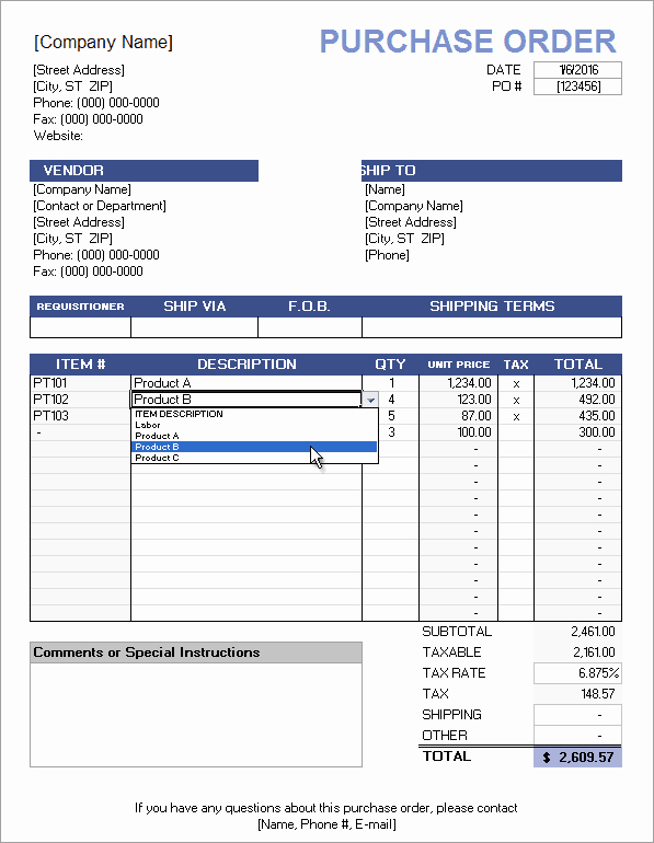 Sample Purchase order In Excel Inspirational Free Purchase order Template with Price List
