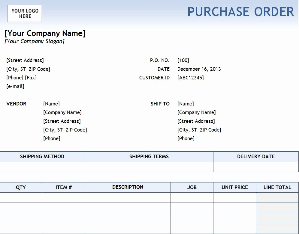 Sample Purchase order In Excel Luxury Excel Purchase order Template