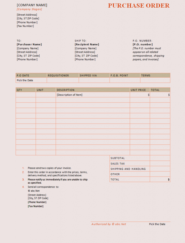 Sample Purchase order In Excel New Purchase order Template Word Templates Trakore Document
