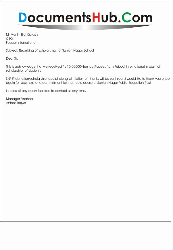 Sample Receipt Of Money Received Elegant Acknowledgement Letter for Receipt Of Money