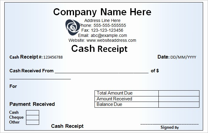 Sample Receipt Of Money Received New Cash Receipt Template 16 Free Word Excel Documents