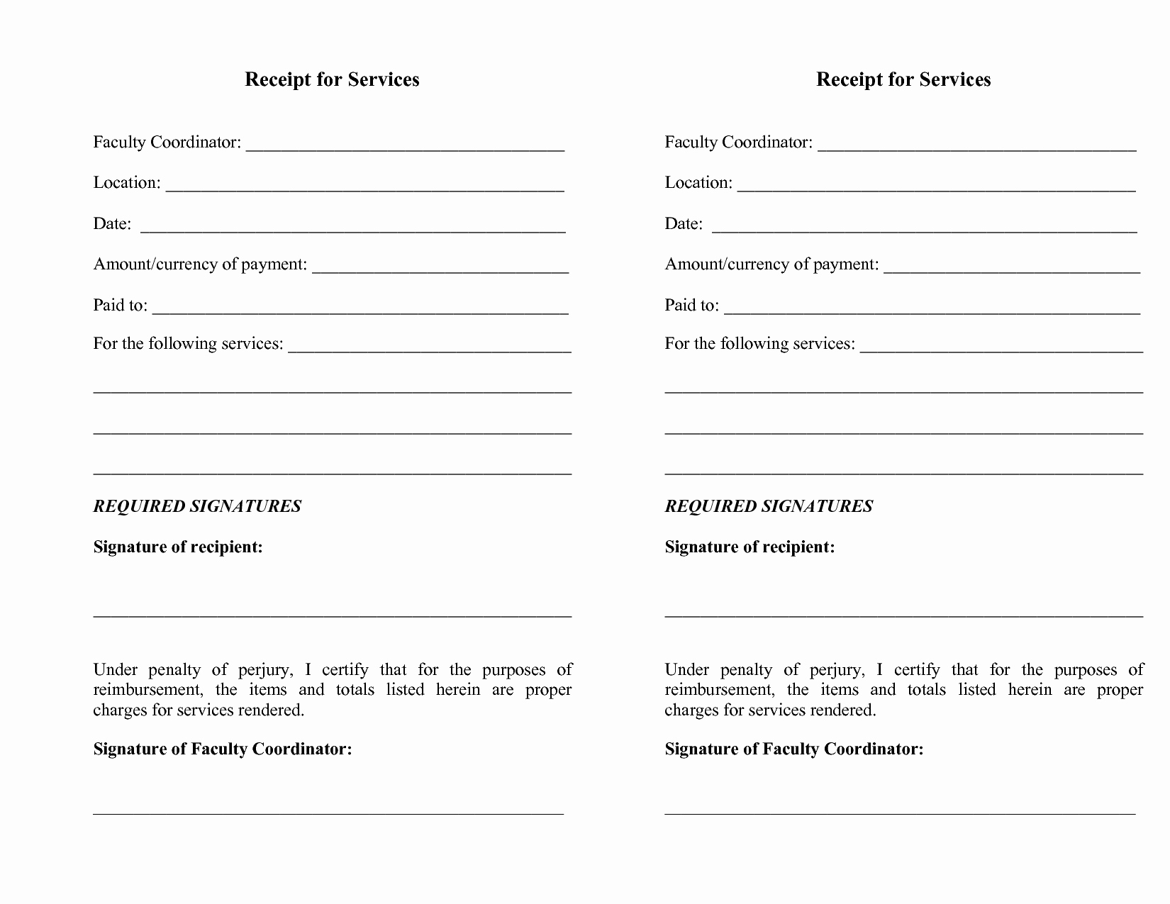 Sample Receipts for Services Rendered Luxury Free Printable Receipts for Services