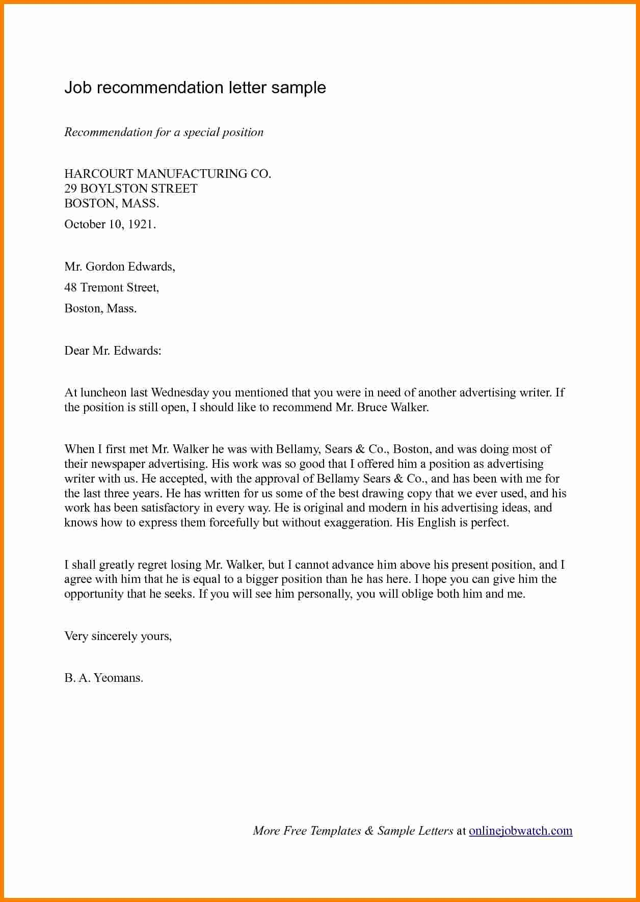 Sample Recommendation Letter for Employment Beautiful 8 Employment Re Mendation Letter