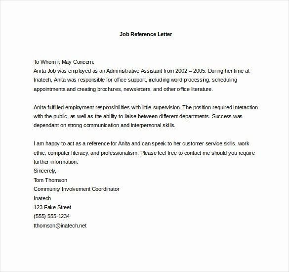 Sample Recommendation Letter for Employment Inspirational 19 Reference Letter Templates Doc Pdf