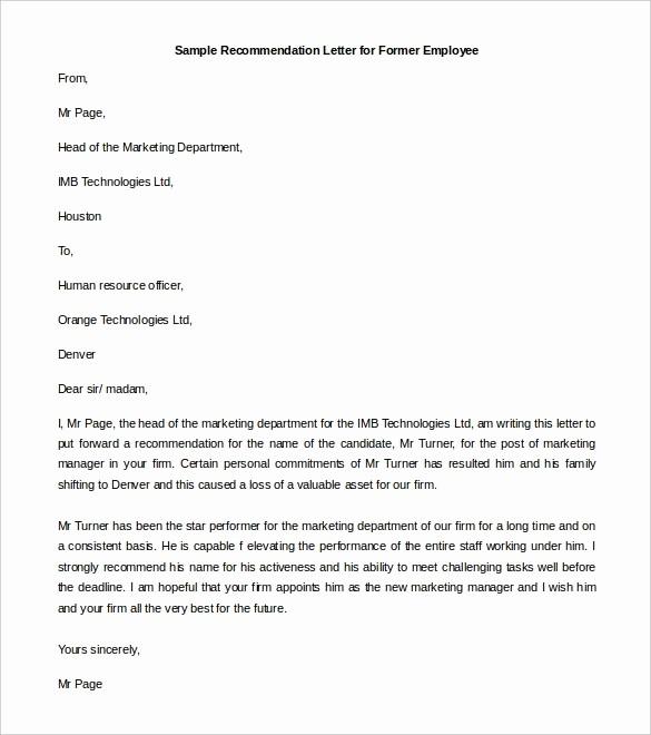 Sample Recommendation Letter for Employment Lovely Re Mendation Letter format