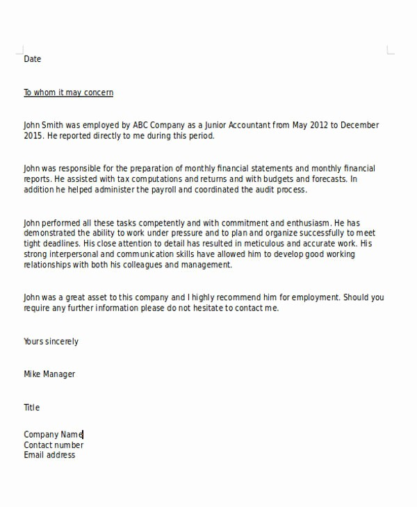 Sample Recommendation Letter for Employment New 6 Sample Character Reference Letter formats
