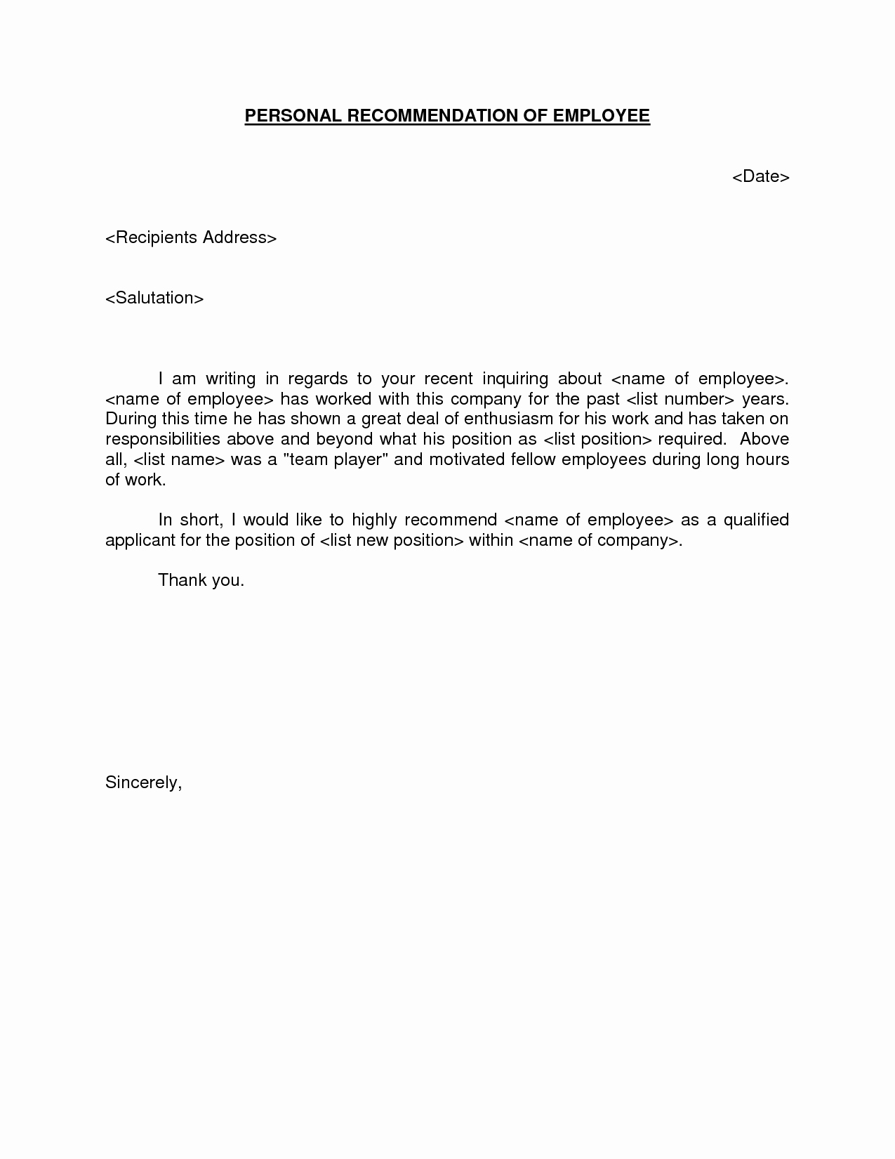 Sample Recommendation Letter for Employment Unique Letter Re Mendation for Employment