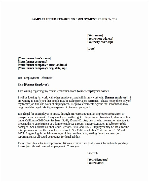 Sample Recommendation Letters for Employee Inspirational 7 Job Reference Letter Templates Free Sample Example