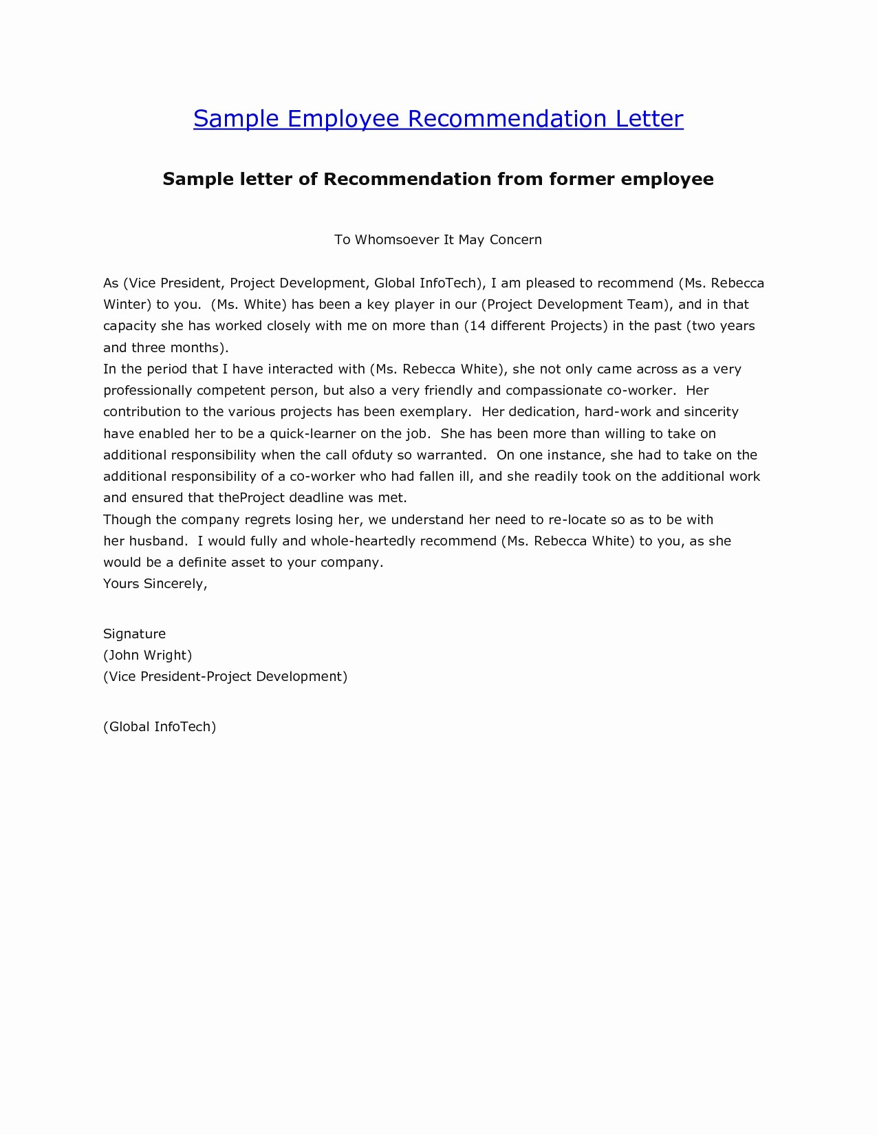 Sample Recommendation Letters for Employee Unique [free] Letter Of Re Mendation Examples Samples