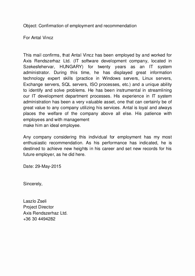 Sample Reference Letter for Employee Beautiful Confirmation Of Employment and Re Mendation