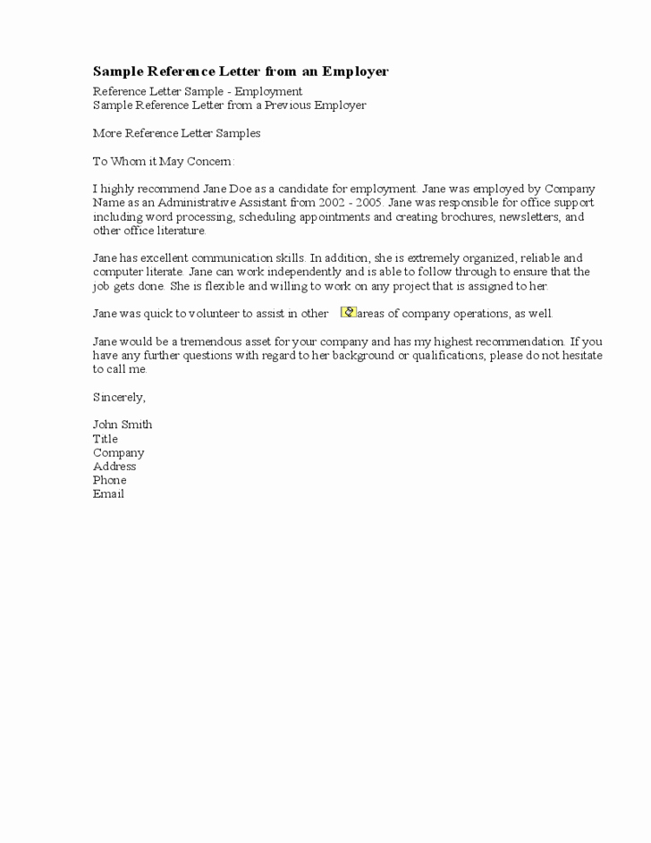 Sample Reference Letter for Employee Beautiful Sample Re Mendation Letter From A Previous Employer Free
