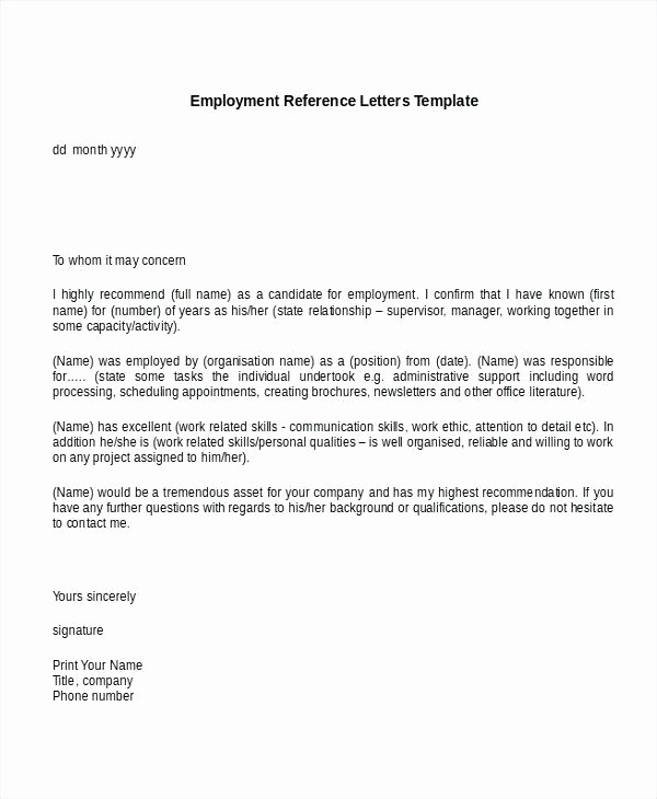 Sample Reference Letter for Employee Best Of Employment Reference Letter