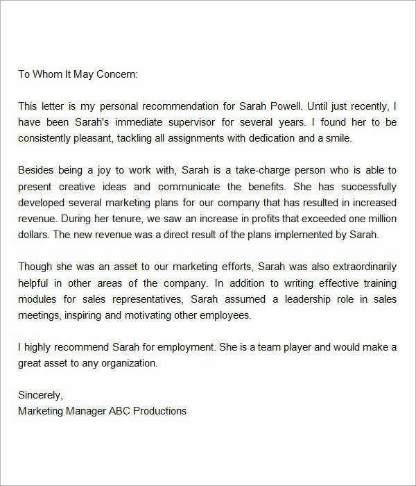 Sample Reference Letter for Employee Inspirational 15 Sample Re Mendation Letters for Employment In Word